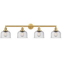 Innovations Lighting 215-SG-G74 Large Bell 4 Light 44 inch Satin Gold Bath Vanity Light Wall Light Franklin Restoration
