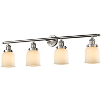 Innovations Lighting 215-SN-G51 Small Bell 4 Light 42 inch Brushed Satin Nickel Bath Vanity Light Wall Light, Franklin Restoration photo thumbnail