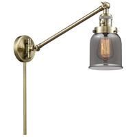 Innovations Lighting 237-AB-G53 Small Bell 21 inch 60.00 watt Antique Brass Swing Arm Wall Light Franklin Restoration