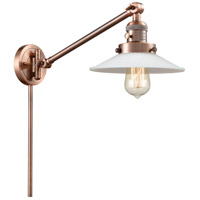 Innovations Lighting 237-AC-G1 Halophane 21 inch 60 watt Antique Copper Swing Arm Wall Light Franklin Restoration