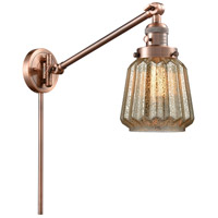 Innovations Lighting 237-AC-G146-LED Chatham 35 inch 3.5 watt Antique Copper Swing Arm Wall Light Franklin Restoration