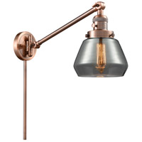 Innovations Lighting 237-AC-G173 Fulton 35 inch 60 watt Antique Copper Swing Arm Wall Light Franklin Restoration
