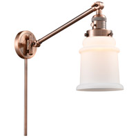 Innovations Lighting 237-AC-G181-LED Canton 18 inch 3.5 watt Antique Copper Swing Arm Wall Light Franklin Restoration
