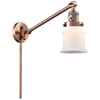 Innovations Lighting 237-AC-G181S-LED Small Canton 35 inch 3.5 watt Antique Copper Swing Arm Wall Light Franklin Restoration