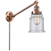 Innovations Lighting 237-AC-G184 Canton 35 inch 60 watt Antique Copper Swing Arm Wall Light Franklin Restoration