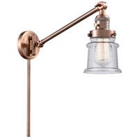 Innovations Lighting 237-AC-G184S Small Canton 35 inch 60 watt Antique Copper Swing Arm Wall Light Franklin Restoration