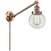 Innovations Lighting 237-AC-G202-6 Beacon 21 inch 60 watt Antique Copper Swing Arm Wall Light Franklin Restoration