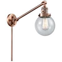 Innovations Lighting 237-AC-G204-6 Beacon 21 inch 60 watt Antique Copper Swing Arm Wall Light Franklin Restoration