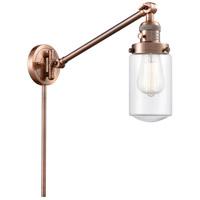 Innovations Lighting 237-AC-G312 Dover 30 inch 60 watt Antique Copper Swing Arm Wall Light Franklin Restoration
