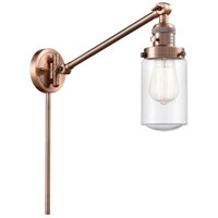 Innovations Lighting 237-AC-G314 Dover 30 inch 60 watt Antique Copper Swing Arm Wall Light Franklin Restoration