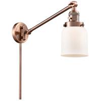 Innovations Lighting 237-AC-G51 Small Bell 21 inch 60.00 watt Antique Copper Swing Arm Wall Light Franklin Restoration