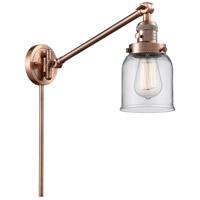Innovations Lighting 237-AC-G52 Small Bell 21 inch 60.00 watt Antique Copper Swing Arm Wall Light Franklin Restoration