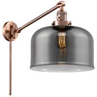 Innovations Lighting 237-AC-G73-L X-Large Bell 12 inch 60 watt Antique Copper Swing Arm Wall Light Franklin Restoration
