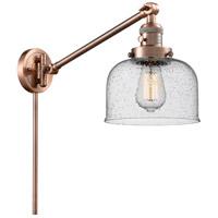 Innovations Lighting 237-AC-G74 Large Bell 21 inch 60 watt Antique Copper Swing Arm Wall Light Franklin Restoration