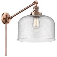 Innovations Lighting 237-AC-G74-L X-Large Bell 12 inch 60 watt Antique Copper Swing Arm Wall Light Franklin Restoration