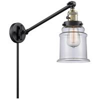 Innovations Lighting 237-BAB-G182 Canton 35 inch 60 watt Black Antique Brass Swing Arm Wall Light Franklin Restoration
