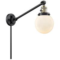 Innovations Lighting 237-BAB-G201-6 Beacon 21 inch 60 watt Black Antique Brass Swing Arm Wall Light Franklin Restoration