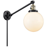 Innovations Lighting 237-BAB-G201-8 Large Beacon 21 inch 60 watt Black Antique Brass Swing Arm Wall Light Franklin Restoration