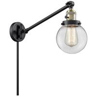 Innovations Lighting 237-BAB-G202-6 Beacon 21 inch 60 watt Black Antique Brass Swing Arm Wall Light Franklin Restoration