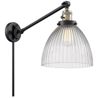 Innovations Lighting 237-BAB-G222 Seneca Falls 18 inch 60 watt Black Antique Brass Swing Arm Wall Light Franklin Restoration