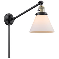 Innovations Lighting 237-BAB-G41 Large Cone 30 inch 60 watt Black Antique Brass Swing Arm Wall Light Franklin Restoration