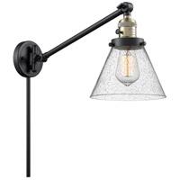 Innovations Lighting 237-BAB-G44 Large Cone 30 inch 60 watt Black Antique Brass Swing Arm Wall Light Franklin Restoration