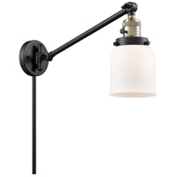 Innovations Lighting 237-BAB-G51 Small Bell 21 inch 60 watt Black Antique Brass Swing Arm Wall Light Franklin Restoration
