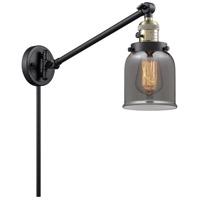 Innovations Lighting 237-BAB-G53 Small Bell 21 inch 60 watt Black Antique Brass Swing Arm Wall Light Franklin Restoration