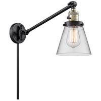Innovations Lighting 237-BAB-G62 Small Cone 21 inch 60 watt Black Antique Brass Swing Arm Wall Light Franklin Restoration