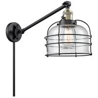 Innovations Lighting 237-BAB-G74-CE Large Bell Cage 21 inch 60 watt Black Antique Brass Swing Arm Wall Light Franklin Restoration