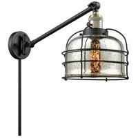 Innovations Lighting 237-BAB-G78-CE Large Bell Cage 30 inch 60 watt Black Antique Brass Swing Arm Wall Light Franklin Restoration