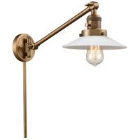Innovations Lighting 237-BB-G1 Halophane 21 inch 60 watt Brushed Brass Swing Arm Wall Light Franklin Restoration
