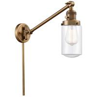 Innovations Lighting 237-BB-G312 Dover 30 inch 60 watt Brushed Brass Swing Arm Wall Light Franklin Restoration
