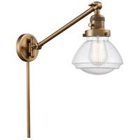 Innovations Lighting 237-BB-G324 Olean 18 inch 60 watt Brushed Brass Swing Arm Wall Light Franklin Restoration