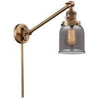 Innovations Lighting 237-BB-G53 Small Bell 21 inch 60 watt Brushed Brass Swing Arm Wall Light Franklin Restoration