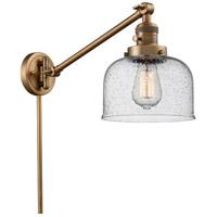 Innovations Lighting 237-BB-G74 Large Bell 21 inch 60 watt Brushed Brass Swing Arm Wall Light Franklin Restoration
