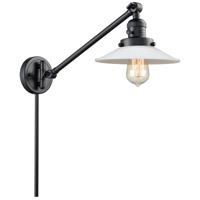 Innovations Lighting 237-BK-G1 Halophane 21 inch 60 watt Matte Black Swing Arm Wall Light Franklin Restoration