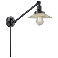 Innovations Lighting 237-BK-G2 Halophane 21 inch 60 watt Matte Black Swing Arm Wall Light Franklin Restoration