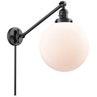 Innovations Lighting 237-BK-G201-10 X-Large Beacon 18 inch 60 watt Matte Black Swing Arm Wall Light Franklin Restoration
