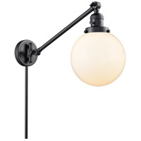 Innovations Lighting 237-BK-G201-8 Large Beacon 21 inch 60 watt Matte Black Swing Arm Wall Light Franklin Restoration