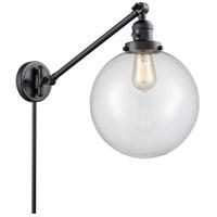 Innovations Lighting 237-BK-G202-10 X-Large Beacon 18 inch 60 watt Matte Black Swing Arm Wall Light Franklin Restoration