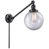 Innovations Lighting 237-BK-G202-8 Large Beacon 21 inch 60 watt Matte Black Swing Arm Wall Light Franklin Restoration