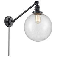 Innovations Lighting 237-BK-G204-10 X-Large Beacon 18 inch 60 watt Matte Black Swing Arm Wall Light Franklin Restoration