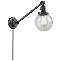 Innovations Lighting 237-BK-G204-6 Beacon 21 inch 60 watt Matte Black Swing Arm Wall Light Franklin Restoration