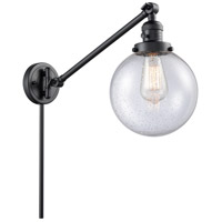 Innovations Lighting 237-BK-G204-8 Large Beacon 21 inch 60 watt Matte Black Swing Arm Wall Light Franklin Restoration