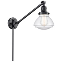 Innovations Lighting 237-BK-G322 Olean 18 inch 60 watt Matte Black Swing Arm Wall Light Franklin Restoration