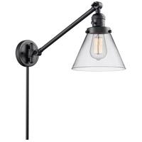 Innovations Lighting 237-BK-G42 Large Cone 30 inch 60 watt Matte Black Swing Arm Wall Light Franklin Restoration