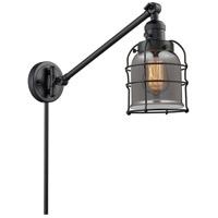 Innovations Lighting 237-BK-G53-CE Small Bell Cage 21 inch 60 watt Matte Black Swing Arm Wall Light Franklin Restoration