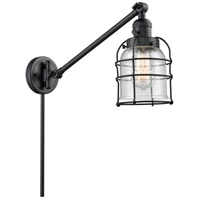 Innovations Lighting 237-BK-G54-CE Small Bell Cage 21 inch 60 watt Matte Black Swing Arm Wall Light Franklin Restoration