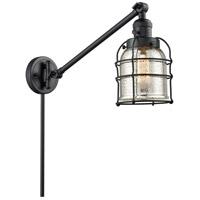 Innovations Lighting 237-BK-G58-CE Small Bell Cage 30 inch 60 watt Matte Black Swing Arm Wall Light Franklin Restoration